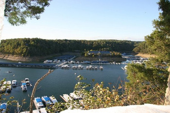 Exterior view of Jamestown Resort and Marina.