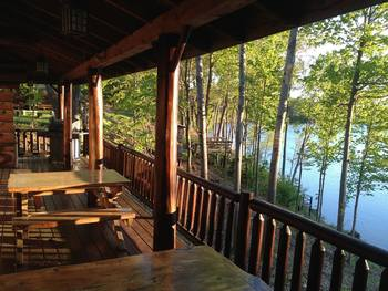 Cabin deck at Sleeping Bear Resort.