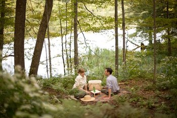 Picnicking in the woods at The Woodstock Inn & Resort.