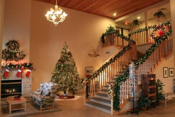 Lobby at Christmas time at Birchwood Lodge.