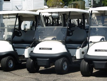 Golf carts at Manistee National Golf & Resort.
