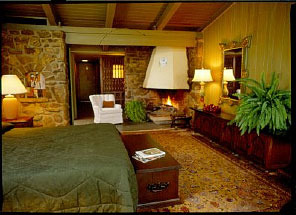 Fireplace guest room at Red Apple Inn & Country Club.