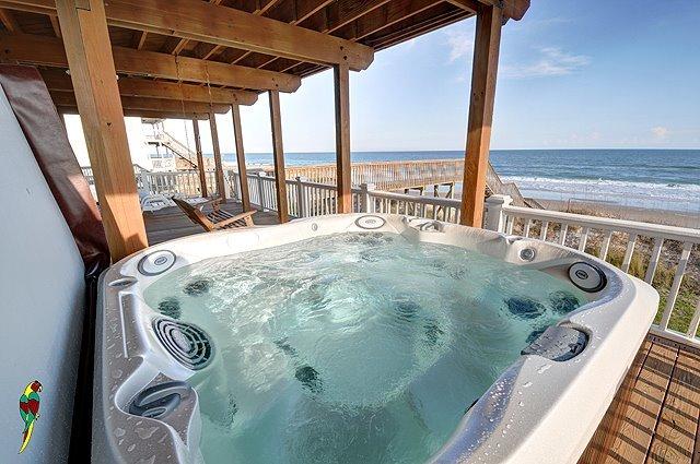 Rental hot tub at Treasure Realty.