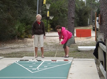 Shuffle board at Navarre Beach Campground.