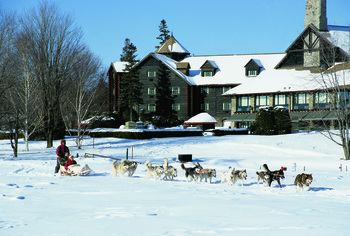 Dog sledding at Fairmont Le Chateau Montebello.