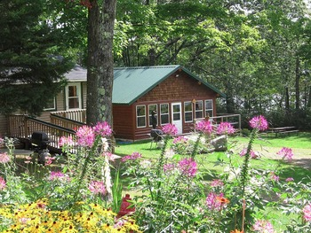 Cabin exterior at Mystic Moose Resort.
