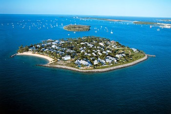 Aerial view of Sunset Key Guest Cottages.