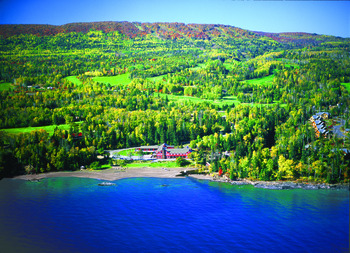 Arial view of Lutsen Resort on Lake Superior.