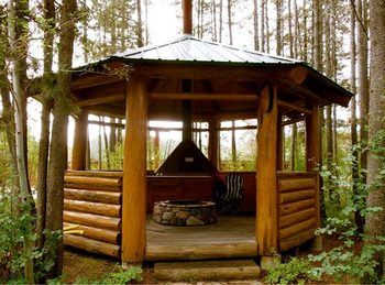 Gazebo at Silverwolf Log Chalet Resort.