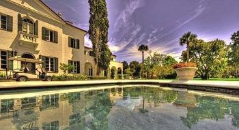 Pool view at Jekyll Island Club Hotel.