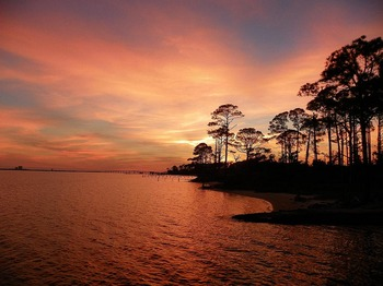 Sunset at Navarre Beach Campground.
