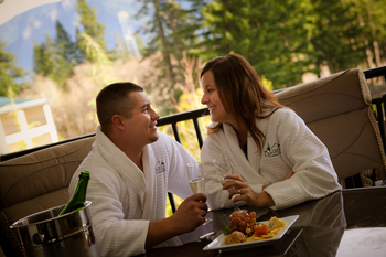 Couple dining at Bonneville Hot Springs Resort & Spa.