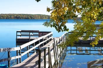 Dock view at Five Lakes Resort.