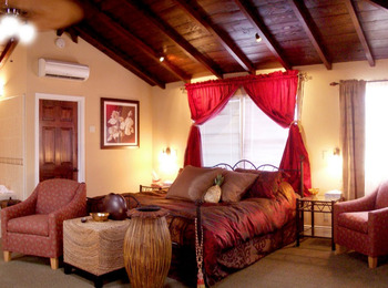 Santa Rosa guestroom features a vaulted wooden ceiling at The Eagle Inn.