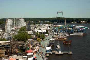 View of lake and amusement park at Indiana Beach Amusement Resort.
