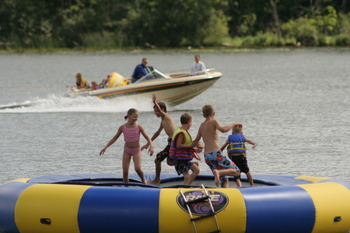 Ruttger's water trampoline, Bay Lake, MN