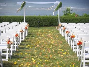 Wedding ceremony at Beachmere Inn.