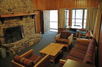 Cabin living room at YMCA Trout Lodge & Camp Lakewood.