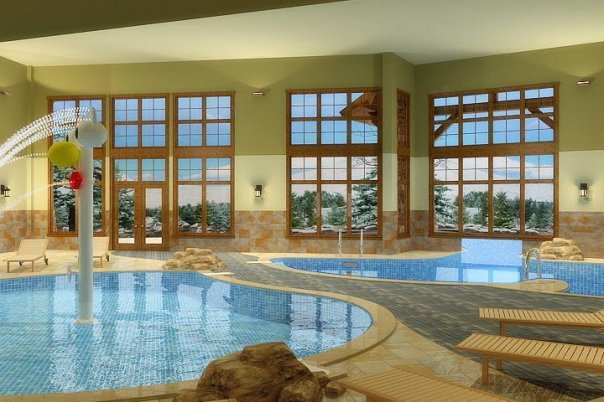 Indoor pool area at Grand Lodge on Peak 7.