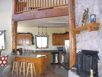 Cabin kitchen at Lori's Luxury Rentals.