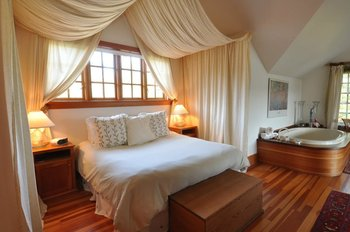 Guest bedroom at Sooke Harbour House.
