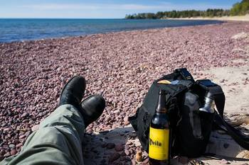 Relaxing by the shore at Eagle River Inn.