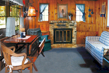 Cabin living room at Samara Point Resort.
