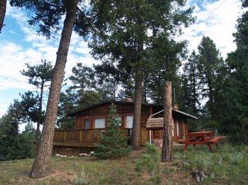 Cabin exterior at Red Door Vacation Rentals.