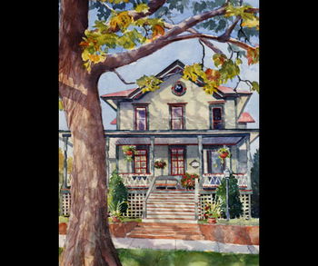 Painting of Grey Oak Guest House.