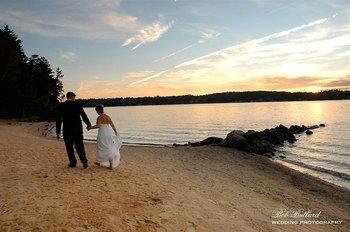 Wedding couple on beach at The Margate on Winnipesaukee.