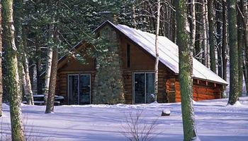 Cabin in the winter at Pitlik's Sand Beach Resort.
