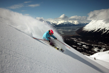 Down hill skiing at Alyeska Resort.