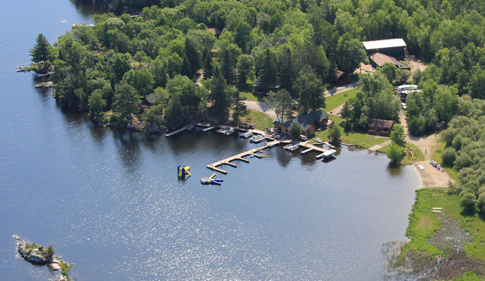 Aerial view of Northern Lights Resort, Outfitting and Youth Quest.