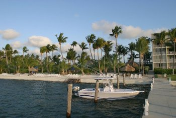 The beach and dock at Hampton Inn & Suites Islamorada.