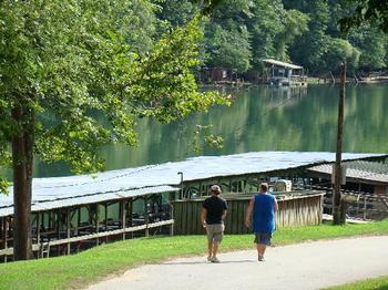 Walking along the lake at Lindsey's Rainbow Resort.