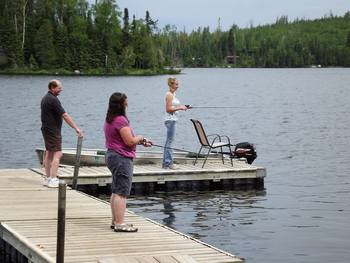 Fishing off the dock at Loon Lake Lodge.