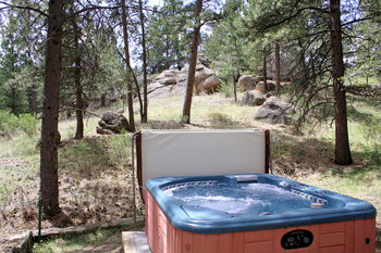 Private jacuzzi at Timber Creek Chalets.