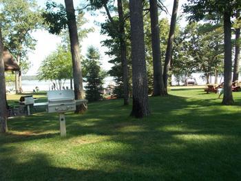 Picnic tables at Good Ol' Days Resort.