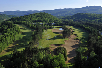 Aerial view of golf course at Fairmont Tremblant Resort.