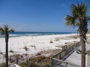View of beach from Southern Vacation Rentals.