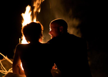 Romantic bonfire at Glenlaurel Inn.