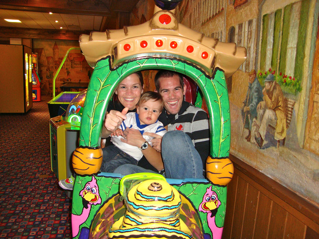 Young Family in Arcade at Bavarian Inn of Frankenmuth