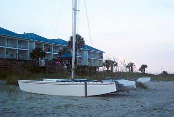 Boats On Beach at Ocean Isle Inn