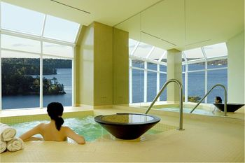 Indoor pool at JW Marriott The Rosseau Muskoka Resort & Spa.