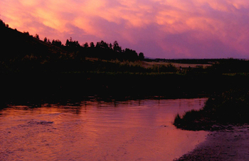 Sunset at Clark Fork River Lodge.