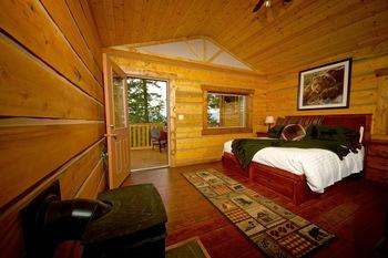 Cabin bedroom at The Wilderness Way Adventure Resort.