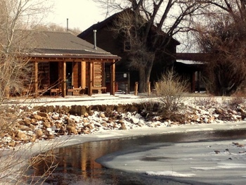Cabin exterior at Vee Bar Guest Ranch.