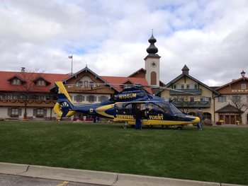 Helicopter and Inn View at Bavarian Inn of Frankenmuth