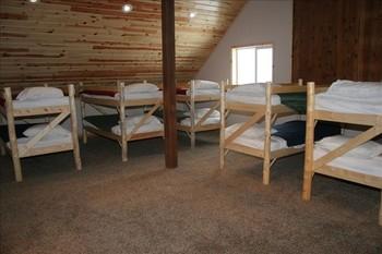 Loft and bunk beds at Fall River Lodge.