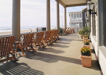 The porch at Harrison Hall Hotel Ocean City.